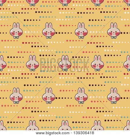 Seamless pattern - amusing cartoon rabbits. Hand-drawn illustration. Vector.