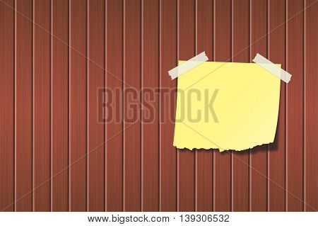 yellow paper on the wooden board. background design. 3d illustration.