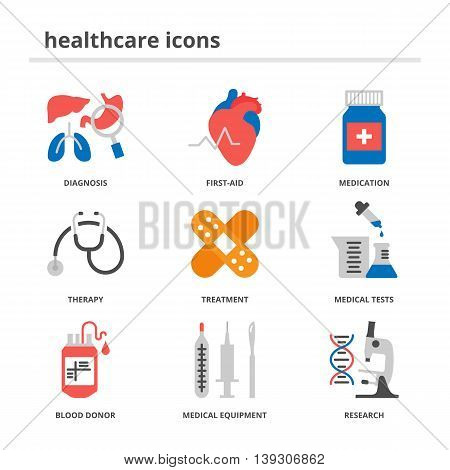 Healthcare and medical vector icons set, flat style