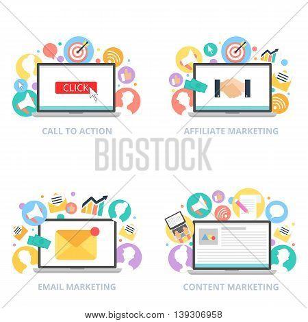 Internet marketing vector set vector illustration flat style