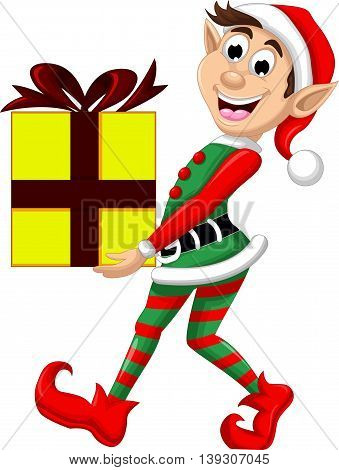 Christmas elf holding a gift for you design