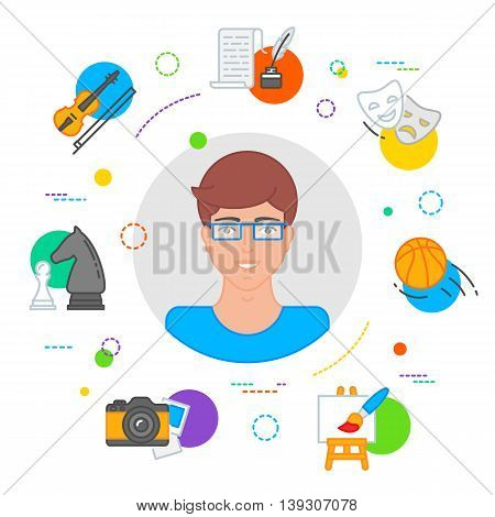Hobbies choice vector illustration, education concept flat style