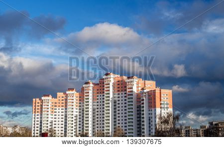 new multi-storey building on a background of blue sky