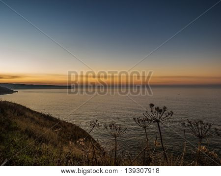 Whitby seascape at dusk in Yorkshire England UK