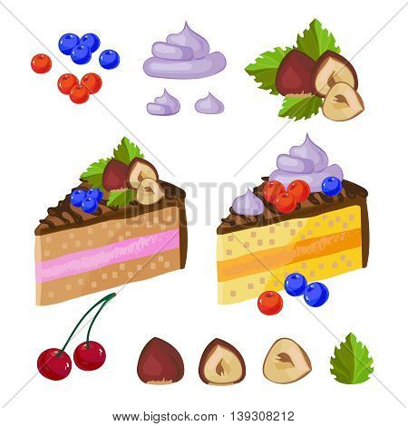 Set of chocolate sweets. A piece of delicious chocolate cake with cream on a plate. Vector illustration hazelnut leaves cherries berry
