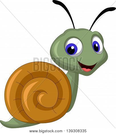 cute snail cartoon posing for you design