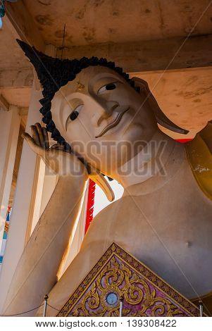 A Huge Reclining Buddha. Hatyai. Thailand.