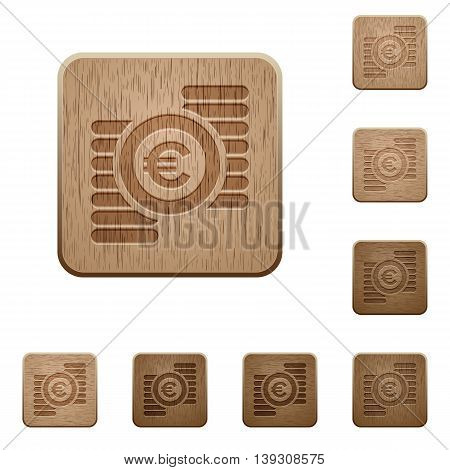 Set of carved wooden Euro coins buttons in 8 variations.