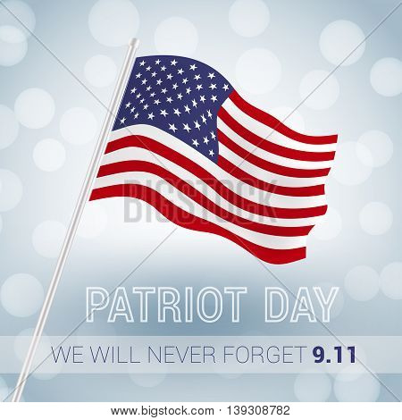 We will never forget 9.11 Patriot Day with USA flag illustration. vector