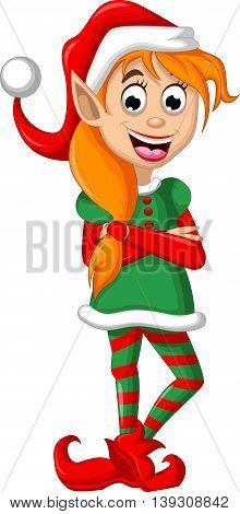 Christmas elf cartoon posing for you design
