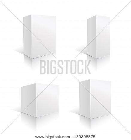 white box set. paper blank package. vector illustration