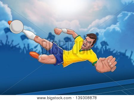 Determined football player executes airborn horizontal scissors kick against blue cloudy sky background illustration