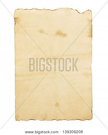 Old brown note paper isolated on white background.