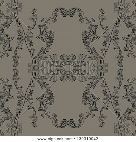 Glamourous Baroque Rococo engraved ornament pattern. Vector luxury pattern carved ornament background