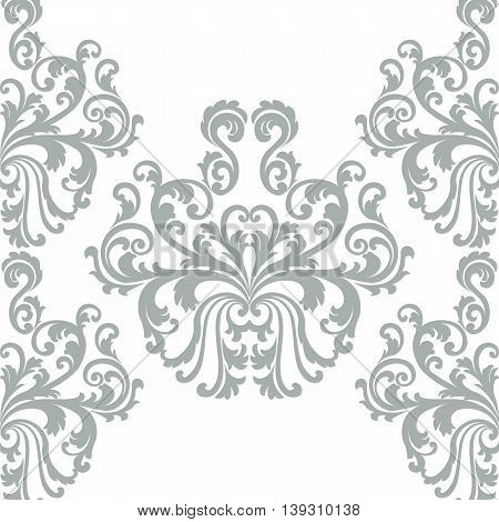 Vintage Vector Floral ornament damask pattern. Elegant luxury texture for backgrounds and invitation cards. Pastel colors