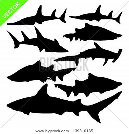 Shark silhouette vector on white color background