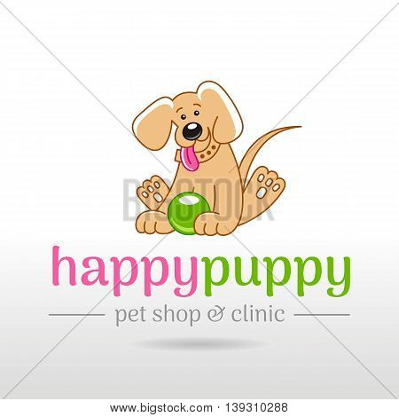 Vector linear illustration of funny cute happy puppy dog on white background. Cartoon logo icon design template. Abstract symbol for pet shop, veterinary clinic, animal care concepts