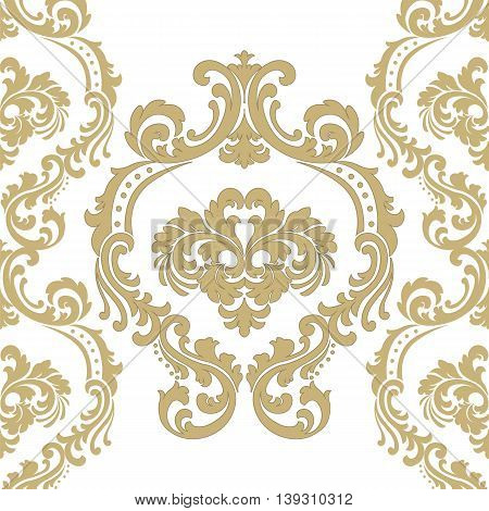 Vintage Vector Floral ornament damask pattern. Elegant luxury texture for backgrounds and invitation cards. Gold color ornament