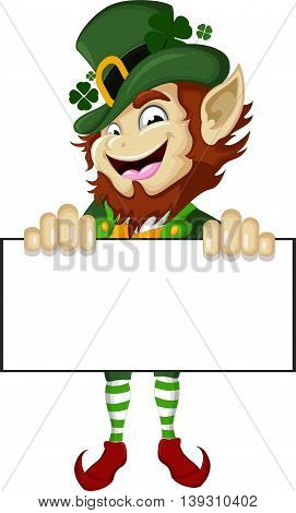 Happy Leprechaun cartoon holding a blank sign