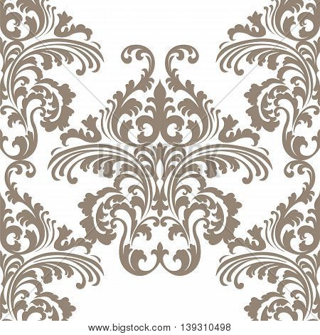 Vintage Vector Rococo Floral ornament damask pattern. Elegant luxury texture for backgrounds and invitation cards. Brown color ornament