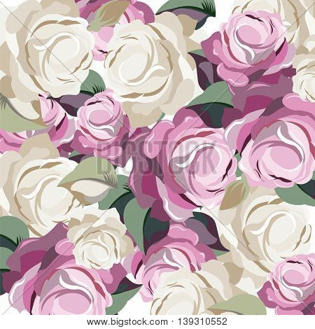 Vector Roses Vintage background. Illustration of painted roses flowers for wedding greeting cards Valentine's day birthday. Colorful roses background