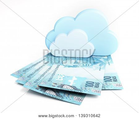 Cloud computing concept, Brazilian real. 3d rendering.