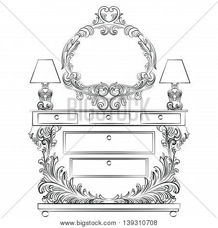 Glamorous Fabulous Baroque Rococo Console Table and Mirror frame set. French Luxury rich carved ornaments furniture and Wall lamps. Vector Victorian wealthy Style furniture