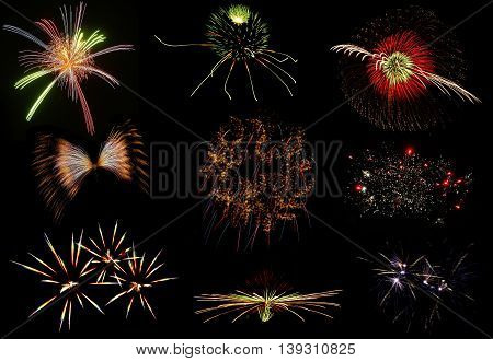 Set of colorful fireworks on black background