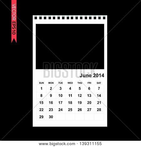 June 2014 calendar vector on black color background