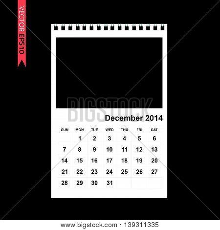 December 2014 calendar vector on black color background