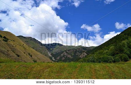 Mountain landscape. Reserve Teberda, Karachay-Cherkessia Republic, Russia. Photo taken on: July 27 Saturday, 2013