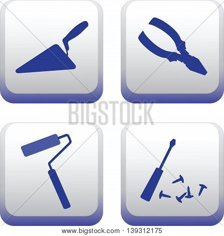 Silhouettes of hand-building tools.Vector image. Set icons