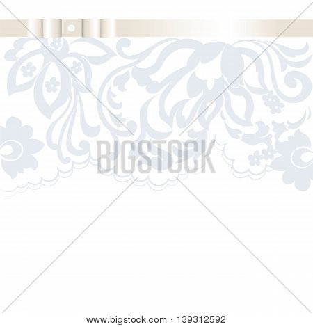 Vector Wedding Invitation card with lace floral ornament. Delicate lace design card with bow. Serenity and beige color