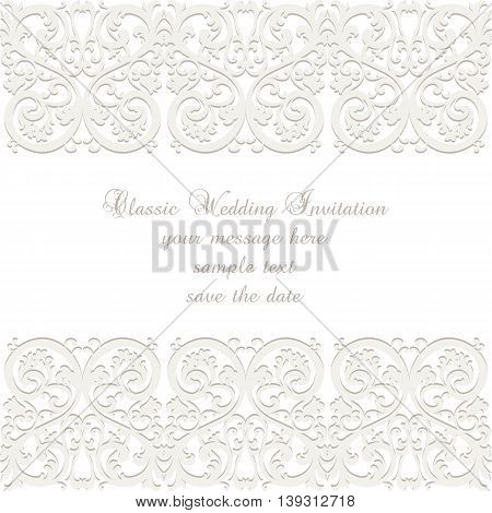 Wedding Lace card. Elegant ornate lace frame vector greeting card or invitation
