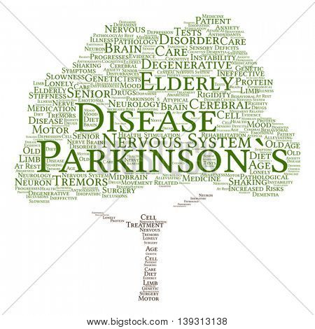 Vector concept conceptual Parkinson`s disease healthcare or nervous system disorder abstract tree word cloud isolated on background