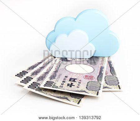 Cloud computing concept, Japanese yen. 3d illustration.