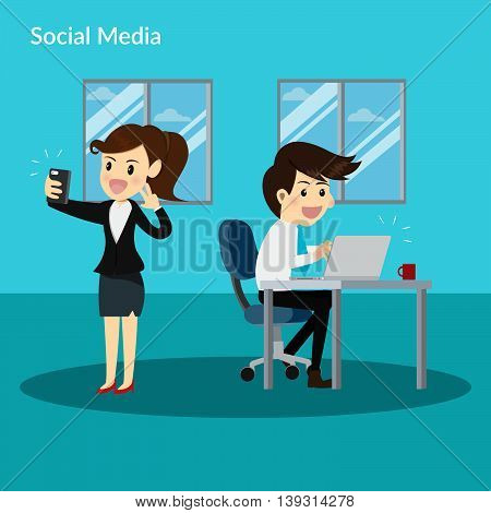 business man and business woman social addiction in office.