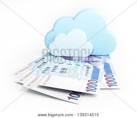 Cloud computing concept, Korean won. 3d illustration.