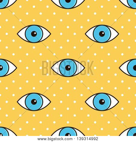 Blue eyes abstract dotted seamless pattern background.