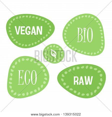 Vector set, collection of green food tags, labels: vegan, raw, bio, eco isolated on white background.