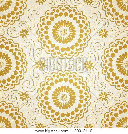 Contrasting seamless pattern with large flowers and curls. Light floral background. It can be used for wallpaper pattern fills web page background surface textures.
