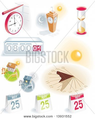 Time and calendar vector icon set