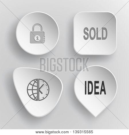 4 images: closed lock, labels