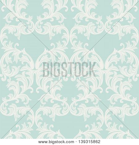 Vector Baroque Vintage floral Damask pattern. Luxury Classic ornament Royal Victorian texture for textile fabric. Opal blue color