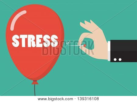 Hand pushing needle to pop the stress balloon. Business concept