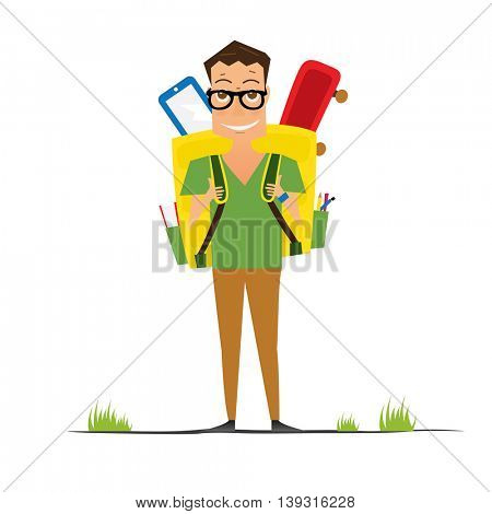 Smiling Young School Boy with Yellow Backpack. Man isolated on white background. Back to School Concept.