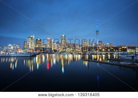 Auckland cityscape at night long exposure and selective focus at building