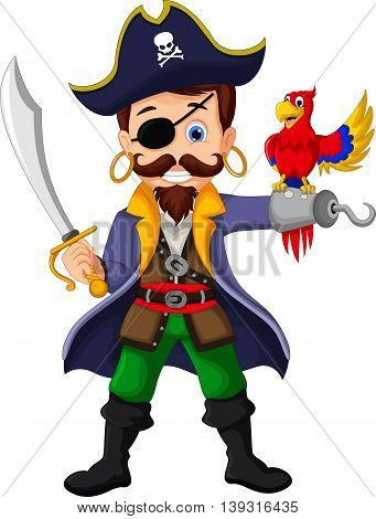 Cartoon pirate and parrots for you design