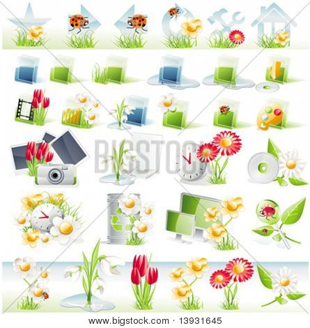 Flower theme glossy icon set. Vector version