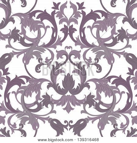Vector damask pattern ornament. Exquisite Baroque element template. Classical luxury fashioned damask ornament Royal Victorian texture for textile wrapping. Lavender color ornament